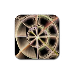 Background With Fractal Crazy Wheel Rubber Coaster (square)  by Simbadda