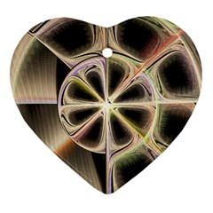 Background With Fractal Crazy Wheel Heart Ornament (two Sides)