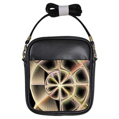 Background With Fractal Crazy Wheel Girls Sling Bags