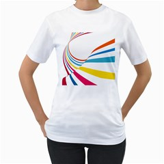 Line Rainbow Orange Blue Yellow Red Pink White Wave Waves Women s T Shirt (white) (two Sided) by Mariart