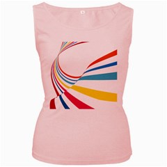 Line Rainbow Orange Blue Yellow Red Pink White Wave Waves Women s Pink Tank Top by Mariart