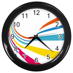 Line Rainbow Orange Blue Yellow Red Pink White Wave Waves Wall Clocks (black) by Mariart