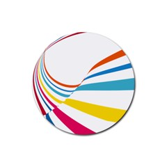 Line Rainbow Orange Blue Yellow Red Pink White Wave Waves Rubber Coaster (round)  by Mariart