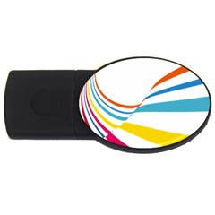 Line Rainbow Orange Blue Yellow Red Pink White Wave Waves Usb Flash Drive Oval (4 Gb) by Mariart