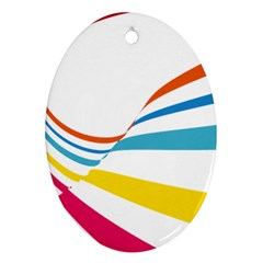 Line Rainbow Orange Blue Yellow Red Pink White Wave Waves Oval Ornament (two Sides) by Mariart