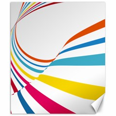 Line Rainbow Orange Blue Yellow Red Pink White Wave Waves Canvas 20  X 24   by Mariart