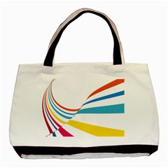 Line Rainbow Orange Blue Yellow Red Pink White Wave Waves Basic Tote Bag (two Sides) by Mariart