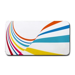 Line Rainbow Orange Blue Yellow Red Pink White Wave Waves Medium Bar Mats by Mariart