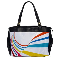 Line Rainbow Orange Blue Yellow Red Pink White Wave Waves Office Handbags by Mariart
