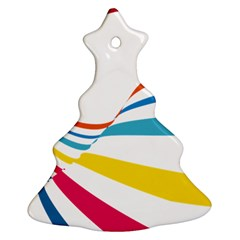 Line Rainbow Orange Blue Yellow Red Pink White Wave Waves Christmas Tree Ornament (two Sides) by Mariart