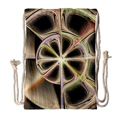 Background With Fractal Crazy Wheel Drawstring Bag (large) by Simbadda