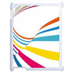 Line Rainbow Orange Blue Yellow Red Pink White Wave Waves Apple Ipad 2 Case (white) by Mariart