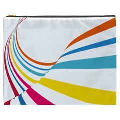 Line Rainbow Orange Blue Yellow Red Pink White Wave Waves Cosmetic Bag (xxxl)  by Mariart