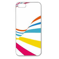 Line Rainbow Orange Blue Yellow Red Pink White Wave Waves Apple Seamless Iphone 5 Case (clear) by Mariart