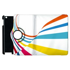 Line Rainbow Orange Blue Yellow Red Pink White Wave Waves Apple Ipad 2 Flip 360 Case by Mariart