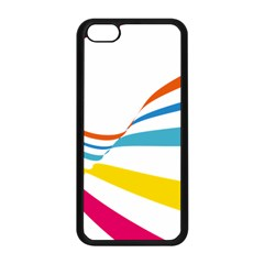 Line Rainbow Orange Blue Yellow Red Pink White Wave Waves Apple Iphone 5c Seamless Case (black) by Mariart