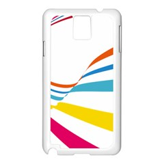 Line Rainbow Orange Blue Yellow Red Pink White Wave Waves Samsung Galaxy Note 3 N9005 Case (white) by Mariart
