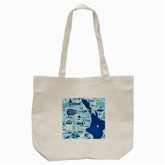 New Zealand Fish Detail Blue Sea Shark Tote Bag (cream) by Mariart