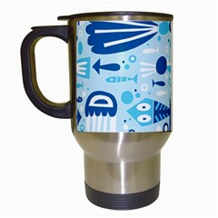 New Zealand Fish Detail Blue Sea Shark Travel Mugs (white) by Mariart