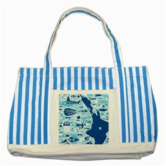 New Zealand Fish Detail Blue Sea Shark Striped Blue Tote Bag by Mariart