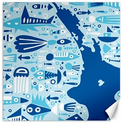 New Zealand Fish Detail Blue Sea Shark Canvas 20  X 20   by Mariart