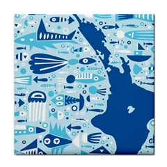 New Zealand Fish Detail Blue Sea Shark Face Towel by Mariart