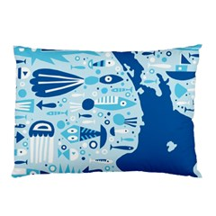 New Zealand Fish Detail Blue Sea Shark Pillow Case by Mariart