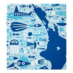 New Zealand Fish Detail Blue Sea Shark Shower Curtain 66  X 72  (large)  by Mariart
