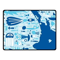 New Zealand Fish Detail Blue Sea Shark Fleece Blanket (small) by Mariart