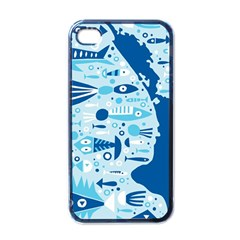 New Zealand Fish Detail Blue Sea Shark Apple Iphone 4 Case (black) by Mariart