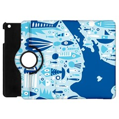 New Zealand Fish Detail Blue Sea Shark Apple Ipad Mini Flip 360 Case by Mariart