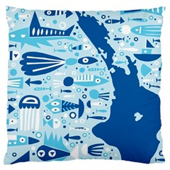 New Zealand Fish Detail Blue Sea Shark Standard Flano Cushion Case (one Side) by Mariart