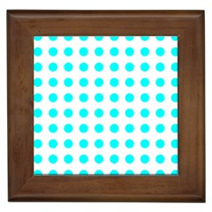 Polka Dot Blue White Framed Tiles by Mariart