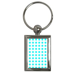 Polka Dot Blue White Key Chains (rectangle)  by Mariart