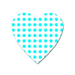 Polka Dot Blue White Heart Magnet by Mariart