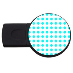 Polka Dot Blue White Usb Flash Drive Round (2 Gb) by Mariart