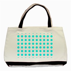 Polka Dot Blue White Basic Tote Bag (two Sides) by Mariart