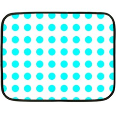 Polka Dot Blue White Double Sided Fleece Blanket (mini)  by Mariart