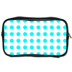 Polka Dot Blue White Toiletries Bags 2-side by Mariart