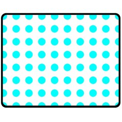 Polka Dot Blue White Fleece Blanket (medium)  by Mariart