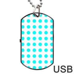 Polka Dot Blue White Dog Tag Usb Flash (two Sides) by Mariart