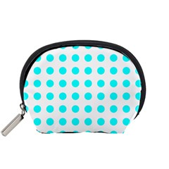 Polka Dot Blue White Accessory Pouches (small)  by Mariart