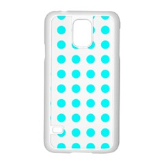 Polka Dot Blue White Samsung Galaxy S5 Case (white) by Mariart