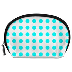 Polka Dot Blue White Accessory Pouches (large)  by Mariart