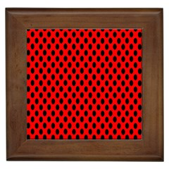 Polka Dot Black Red Hole Backgrounds Framed Tiles by Mariart