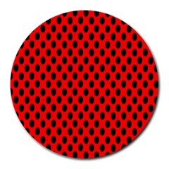 Polka Dot Black Red Hole Backgrounds Round Mousepads by Mariart