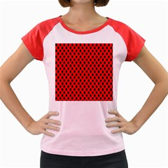 Polka Dot Black Red Hole Backgrounds Women s Cap Sleeve T Shirt