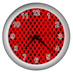 Polka Dot Black Red Hole Backgrounds Wall Clocks (silver)  by Mariart