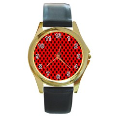 Polka Dot Black Red Hole Backgrounds Round Gold Metal Watch by Mariart