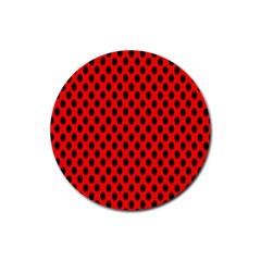Polka Dot Black Red Hole Backgrounds Rubber Coaster (round)  by Mariart